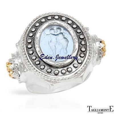 US$600 TAGLIAMONTE Ring Made in ITALY Venetian Glass 14K/925 Gold Plated Silver