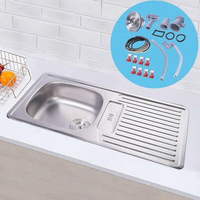 860X435mm Stainless Steel Kitchen Sink Laundry Single Bowl Drainer Plumbing Kit