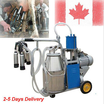 110V Electric Cow Electric Vacuum Pump Milking Milker Machine Cows & 25L Bucket