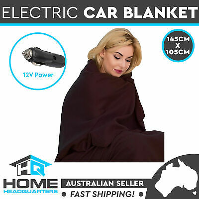 Car Electric Heated Blanket Travel Rug Soft Fleece Throw Caravan 12 Volt Brown