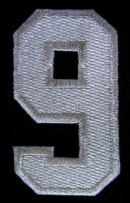 NUMBER NINE NO.9 #9 Silver Embroidered Iron on Patch + Free Shipping
