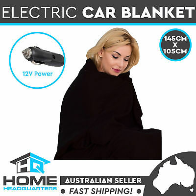 Car Electric Heated Blanket Travel Rug Soft Fleece Throw Caravan 12 Volt Black