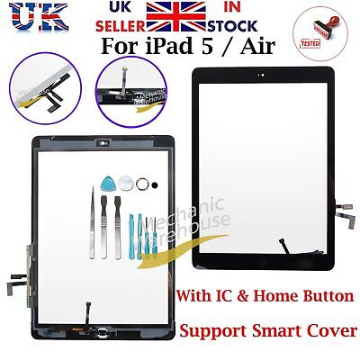 For iPad 5 Air Black Touch Screen Replacement Digitizer Home Button & IC Flex UK