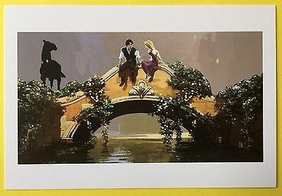 TANGLED Film Art POSTCARD Disney FLYNN RIDER & RAPUNZEL Bridge HORSE 68