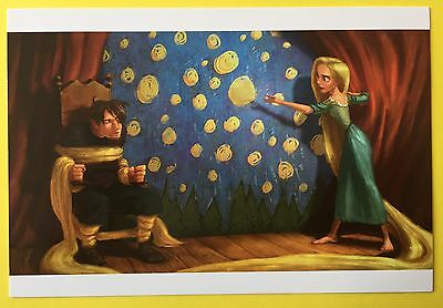 TANGLED Film Art POSTCARD Disney FLYNN RIDER Rapunzel TIED UP WITH HAIR 67