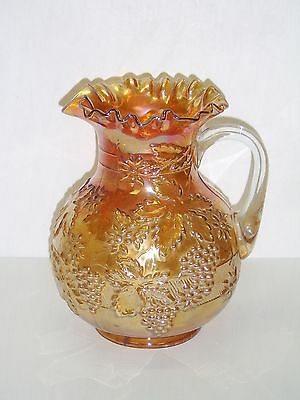 "DUGAN MARIGOLD CARNIVAL GLASS 9 1/4"" PITCHER FLORAL and GRAPE PATTERN BANDED"