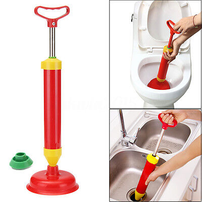 Powerful Bathroom Multi Drain Buster Plunger Blocked Toilet Sink With 2 Suckers