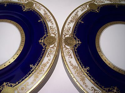2 Stunning Raised Gold Encrusted Cobalt Minton Plates For Burley&co Mint