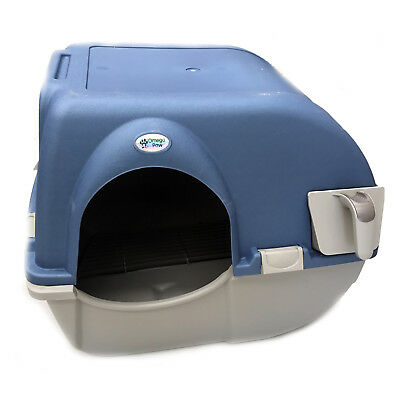 Omega Paw Roll n' Clean Cat Litter Box Large Blue/Beige Easy Clean Toilet Tray