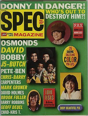 SPEC 16 Magazine April 1972 - Donny Osmond David Cassidy Pete Duel Brady Bunch