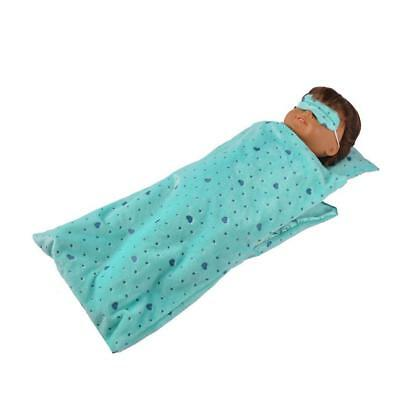 Blue Green Sleeping Bag Pillow Set for 18'' American Girl Doll Accessories