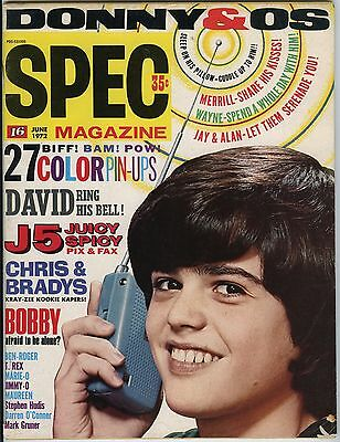 SPEC 16 Magazine June 1972 - Donny Wayne Marie Merrill Osmond Bobby Sherman J5