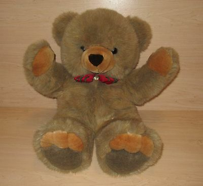 Vintage JC PENNEY COLLECTION STUFFED PLUSH TEDDY BEAR RED BOW BROWN 1995