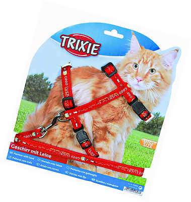 Trixie 41893 Cat Set of Harness and Lead for Large Cats Nylon Patterned