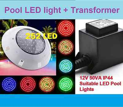 New 252 Led Pool Strong Light Rgb 7 Colour  Remote Plus Pool Transformer
