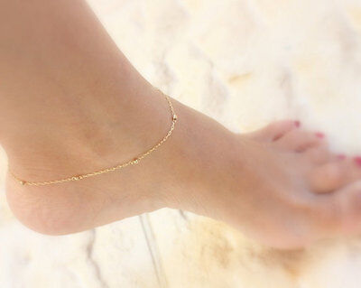 Ladies Girls Bead Anklet Ankle Bracelet Chain Gold Filled