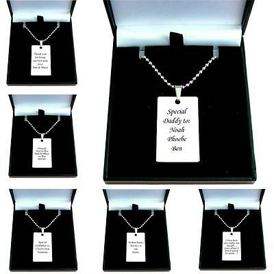 Men's Jewellery Engraved ID Tag Necklace, Any Engraving Gift for Son, Daddy etc