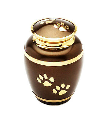 Paw Prints Brown and Gold Urn for Large Pet Dog or Cat Ashes Cremains Memorial