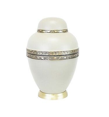 Large White and Gold Urn for Adult or Pet Dog Ashes Cremains Memorial