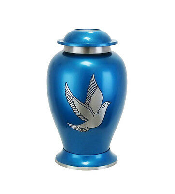 Large Blue and Silver Dove Urn for Adult or Pet Dog Ashes Cremains Memorial