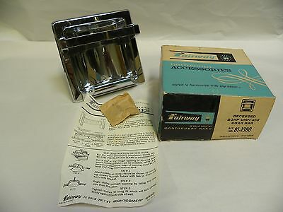 Vintage NOS Fairway 81-1380 Chrome Recessed Soap Dish with Grab Bar (A8)