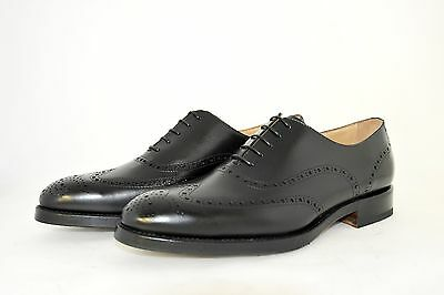 MAN-7½eu-8½us-BROGUE OXFORD-BLACK CALF-VITELLO NERO-LEATHER SOLE-SUOLA CUOIO