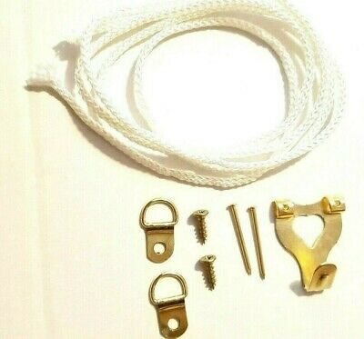 Picture Hanging Kit Hook Cord D Rings Screws Nails Canvas Hanger Multi Listing