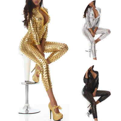 GoGo Wet-Look Overall Jumpsuit Onesie 3/4-Arm Capri Body Metallic Glanz 34 36 38