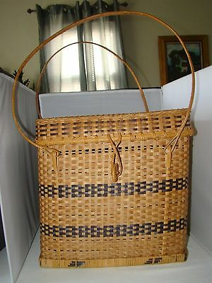 """Vintage Rare Wicker Cube Storage Basket with Lid and Hand Straps 12"""" side"""