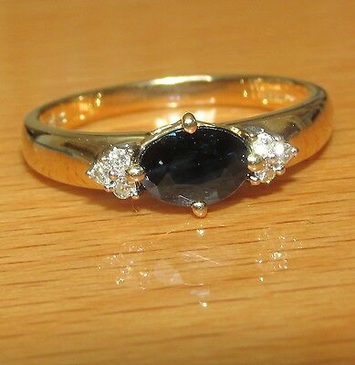 BEAUTIFUL SECONDHAND 9ct YELLOW GOLD SAPPHIRE AND DIAMOND  RING SIZE P