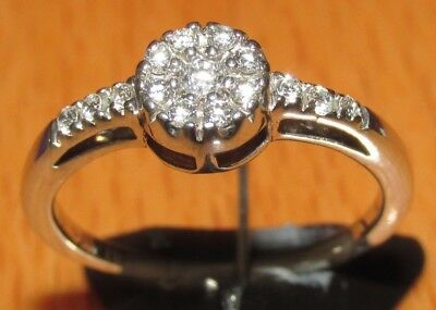 STUNNING SECONDHAND  18ct WHITE GOLD  DIAMOND CLUSTER RING SIZE I