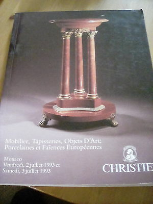 Christie's Monaco Auction Catalogue 1993 Tapestries Furniture etc + price list