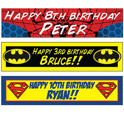 2 Personalised Super Hero Banners Spiderman Superman Batman Birthday Christening