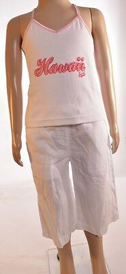 NEW Girls Adams White Vest Top Crop Trousers Shorts Set Outfit Age 4-5 Years A14