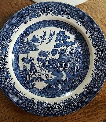 """Churchill Blue Willow (6)10 3/8"""" Dinner Plates Made in England in EUC"""