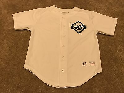 Boy's Youth Tampa Bay Rays Evan Longoria Button Front Jersey Size Medium #3