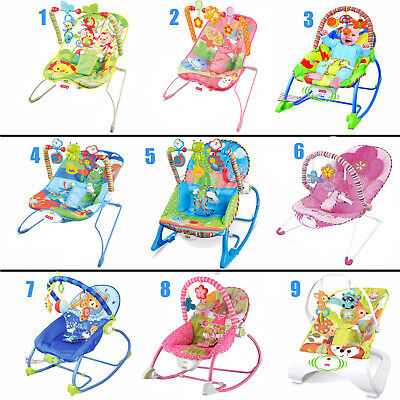 Baby Rocker Bouncer Reclining Chair Soothing Music Viberation with Toys 0 Month+