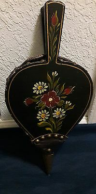 Vintage Antique Leather Wood Brass Fireplace Bellows with Painted Flowers