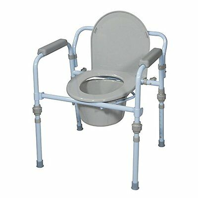 Adult Toilet Seat Potty Commode Chair Bedside Folding Bariatric Bucket Drop New