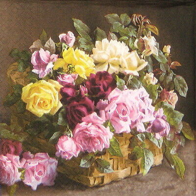 20x Lunch Paper Napkins Serviettes Party, Decoupage - Roses in Basket