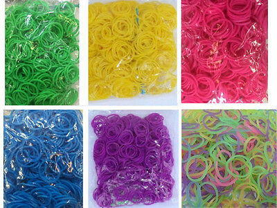 600 Rubber Loom Bands Girls Kids Activity Play Toy Bracelet Ornament + 24 Hooks