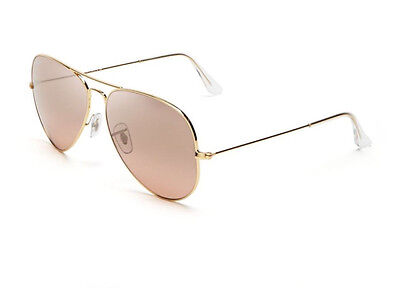 New RAY BAN Aviator Sunglasses Gold Frame RB 3025 001/3E 58mm  Pink Mirror Lense