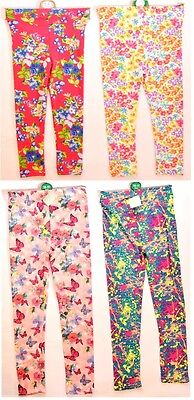Girls Multi Colour Floral Patterned Long Leggings Age 1/2 2/3 11/12 Years (A61)