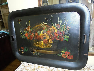 Large 19c Antique Hand Painted Toleware Butlers Serving Tray~Floral Delight