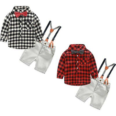 Overalls Clothes Outfit Set+Bow Tie T-shirt 2PCS Toddler Kids Baby Boy Bib Pants