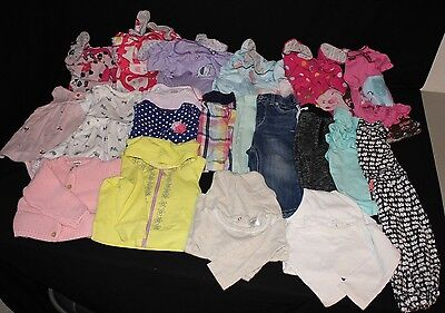 Baby Size 12 Months LOT 20 Piece Toddler 12mo Clothes Girls Shorts Pants Shirts