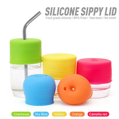 Silicone Sippy Cup Lid Straw Spill-Proof Cup Cover for Water Cup Baby Toddler