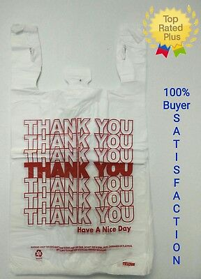 "1/6 T-Shirt Bag Thank You Plastic Grocery Retail Carry Out Bags 11.5""x6""x21"""