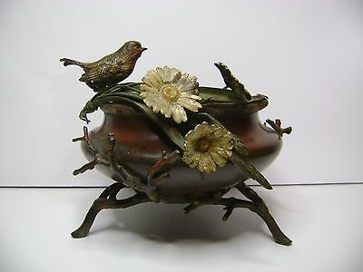 old antique  Center bird and flowers polychrome bronze