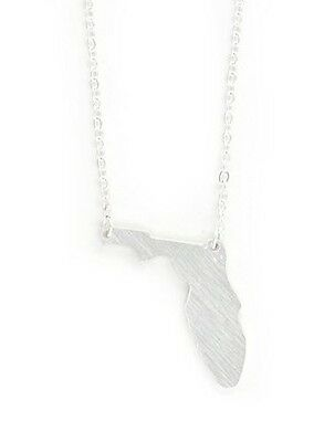 Florida State Necklace Silhouette Outline Pendant Silver Tone NY60 Fashion Jewel